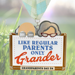 "Grandparents Day 5K virtual finisher medal large size 6"" with peeking grandparents on top and argyle band lanyard set to lawn"