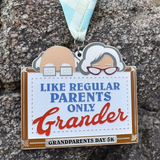 "Grandparents Day 5K virtual finisher medal large size 6"" with peeking grandparents on top and argyle band lanyard"