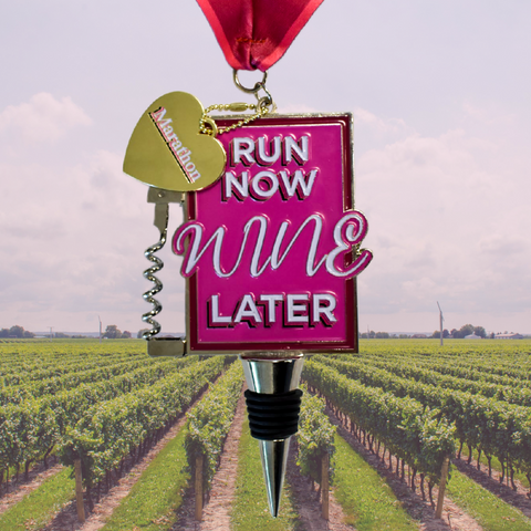 Run Now Wine Later Marathon Virtual Run finisher medal for wine lovers with corkscrew and bottle opener and wine stopper 26.2 miles