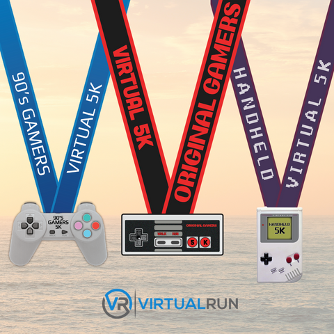 Three finisher medal set for retro old school video game lovers of Nintendo Entertainment System NES original Sony Playstation and Nintendo Gameboy original 5K road race running