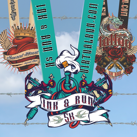 Image of Three medals in front of barbed wire for Virtual Run Tattoo Ink Package