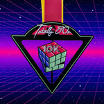 Totally 80s 10K finisher medal in front of 1980s pixel video game background
