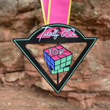 Totally 80s 10K finisher medal for virtual run rubix cube spinning