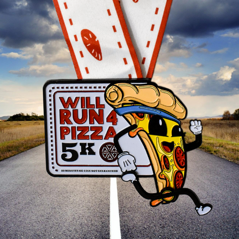 The Will Run For 4 Pizza 5K finisher medal featuring a pizzaman with spinning legs