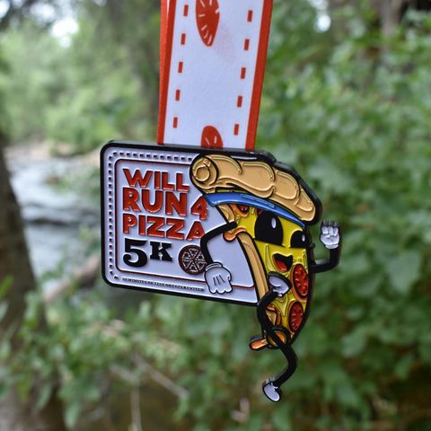 Will Run For Pizza 5K finisher medal for the virtual run for pizza lovers and runners and walkers