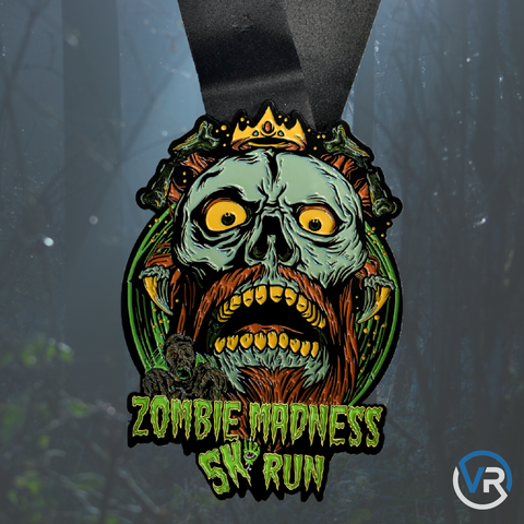 Virtual Run finisher media for the Zombie Madness 5K virtual race featuring scary zombie king in a crown walking dead
