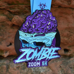 Zombie Zoom is a 5K virtual race and this is the finisher medal with zombie brains coming out of a walking dead skull fear of the walking dead 5K.