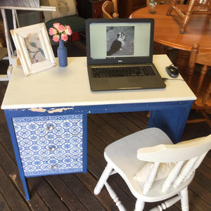 Sweet Pickins Milk Paint Desk (with decoupage drawers)