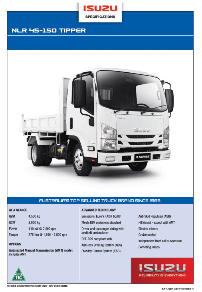 Isuzu NLR-45 -150 Tipper Brochure | Truck Tarps Warehouse