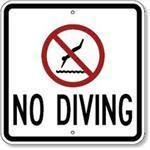 "18""x18"" NO DIVING Reflective white sign"