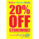 "Yellow ""20% Off Storewide"" Signs for Learning Express - AdVision Signs"