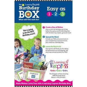 "Blue ""Birthday Box Easy as 1 2 3"" Signs for Learning Express"