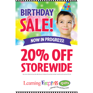 """Birthday Sale 20% Off"" Signs for Learning Express"