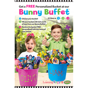 """Bunny Buffet FREE Personalized Bucket"" Sign for Learning Express - AdVision Signs"