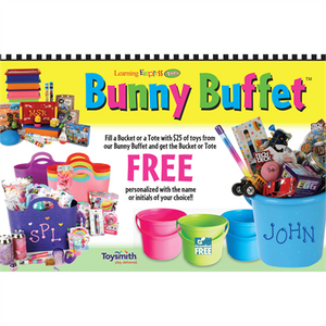 """Bunny Buffet FREE Personalized Bucket or Tote"" Sign for Learning Express"