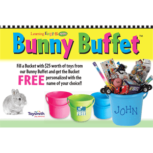 """Bunny Buffet Fill A Bucket"" Sign For Learning Express - AdVision Signs"