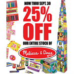 """25% Off Our Entire Stock Melissa & Doug"" Signs for Learning Express"
