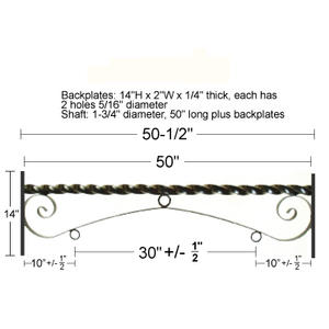 "48"" Double Mount Reverse Scroll Bracket"
