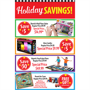 """Holiday Savings"" Signs for Learning Express"