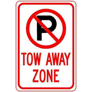 "12""x18"" NO PARKING TOW AWAY ZONE ( /P PIC) Reflective White Sign"