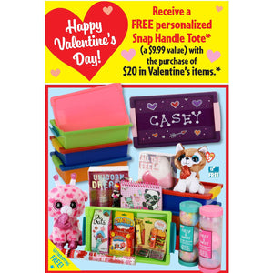 Free Valentine's Day Personalized Snap Tote Sign for Learning Express - AdVision Signs