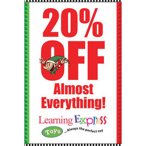 """20% OFF Almost Everything"" Holiday Signs for Learning Express"