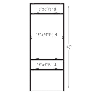 "24""H x 18""W x 46""H Real Estate Metal Frame - Vertical Double-Rider - AdVision Signs"