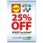 """ALEX 25% OFF"" Signs for Learning Express"