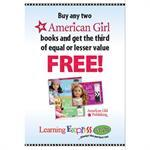 """American Girl Books Buy Two Get Third Free"" Signs for Learning Express"