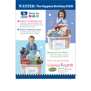 """Wanted: The Happiest Birthday Ever"" Signs for Learning Express"