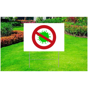 "Coronavirus Corrugated Plastic Yard Sign 18"" x 24"" - Cross out Coronavirus"