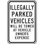 "12""x18"" ILLEGALLY PARKED VEHICLES WILL BE TOWED AT OWNERS EXPENSE Reflective white sign"