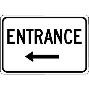 "18""x12"" ENTRANCE L ARROW Reflective White Sign"