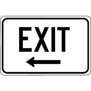 "18""x12"" EXIT L ARROW Reflective White Sign"