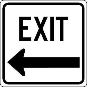 "18""x18"" EXIT L ARROW Reflective White Sign"