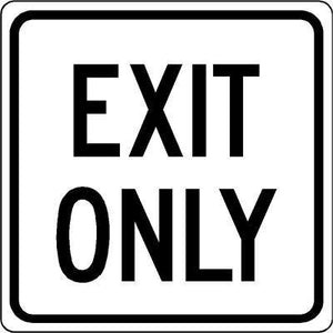 "18""x18"" EXIT ONLY Reflective White Sign"
