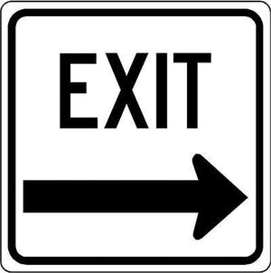 "18""x18"" EXIT R ARROW Reflective White Sign"