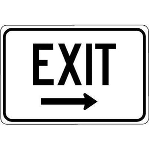 "18""x12"" EXIT R ARROW Reflective White Sign"