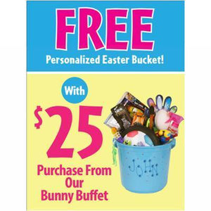 """FREE Personalized Easter Bucket"" Vertical Sign for Learning Express - AdVision Signs"
