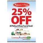 """25% Off All Melissa & Doug Toys In Stock"" Signs for Learning Express"