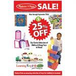 """25% Off Melissa & Doug"" Signs for Learning Express"