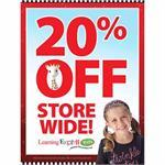 """20% Off Storewide"" (Red) Signs for Learning Express"