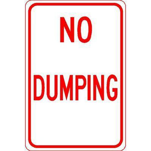 "12""x18"" NO DUMPING Reflective white Sign"