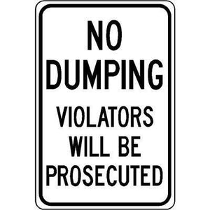 "12""x18"" NO DUMPING VIOLATORS WILL BE PROSECUTED Reflective White Sign"