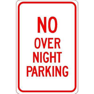 "12""x18"" NO OVERNIGHT PARKING Reflective white Sign - AdVision Signs"