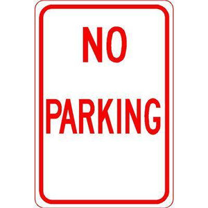 "12""x18"" NO PARKING Reflective White Sign - AdVision Signs"