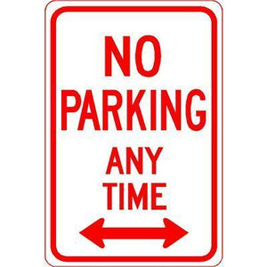 "12""x18"" NO PARKING ANY TIME L/R ARROW Reflective White Sign - AdVision Signs"