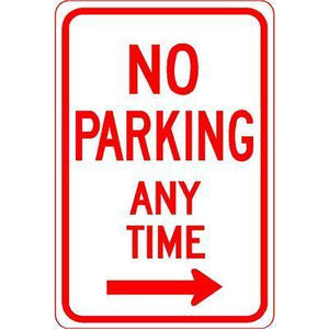 "12""x18"" NO PARKING ANY TIME RIGHT ARROW Reflective White Sign"