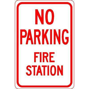 "12""x18"" NO PARKING FIRE STATION Reflective White Sign - AdVision Signs"