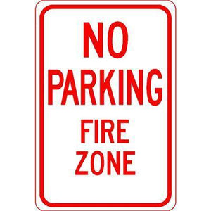 "12""x18"" NO PARKING FIRE ZONE Reflective White Sign - AdVision Signs"